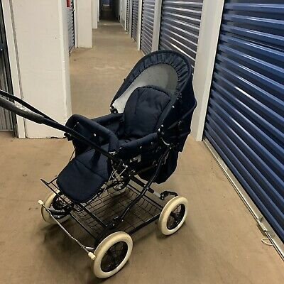 vintage simo luxury stroller carriage baby rear face high end unisex navy blue