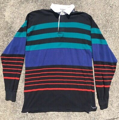 Vintage Britches Great Outdoors Vertical Stripe Rugby Shirt Men S Size Large