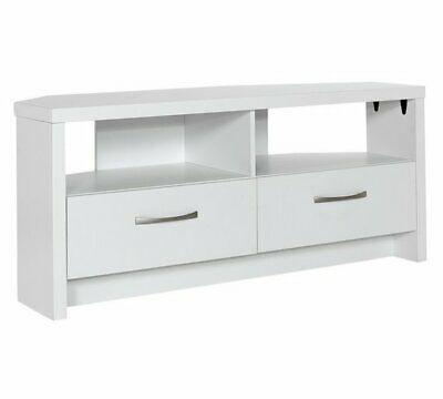 Tv Corner Unit Media Entertainment Television Stand W Shelves And Drawers White